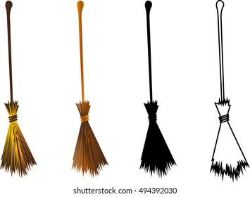 Halloween witches broomstick, witches broom illustration,
