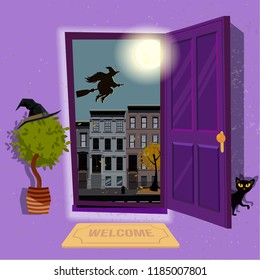 halloween Witch's house. Open door to purple hallway with hat at home plant and black cat at door. Urban landscape with a huge moon and silhouette of witch over houses roofs. Flat cartoon illustration