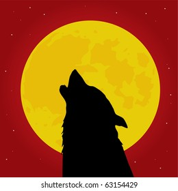 Halloween wolf howls in front of the Moon vector