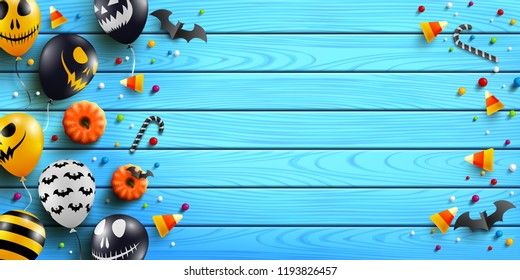 Halloween wood background with Halloween Ghost Balloons,pumpkin and candy on wood table background.Scary air balloons.Website spooky or banner  template.Vector illustration EPS10