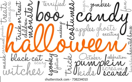 Halloween word cloud on a white background.