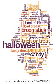 Halloween word cloud vector on whiet background with words related to halloween - witch, trick or treat, candy, pumpkin, halloween, knocking and similar