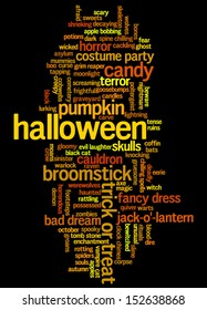 Halloween word cloud vector on black background with words related to halloween - witch, trick or treat, candy, pumpkin, halloween, knocking and similar