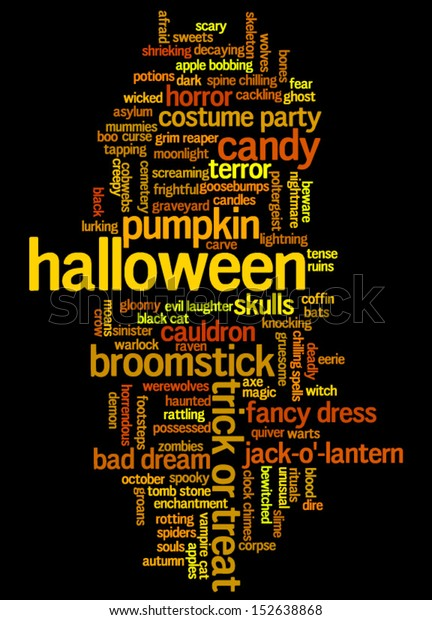 Halloween Word Cloud Vector On Black Stock Vector (Royalty