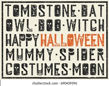 Halloween words decorative poster. Grunge stamp letters with scary elements (bats, tombs, pumpkins). Holiday words in grunge frame.