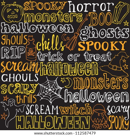 halloween words and icons background vector