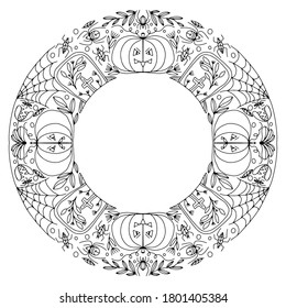 halloween wreath with spiders and pumpkins drawn for coloring on a white background, vector
