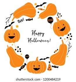 Halloween wreath vector illustration. Happy Halloween greeting card. Festive vector wreath with pumpkin, balloons, candy and bat.