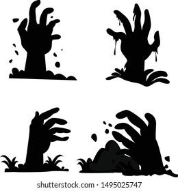 Halloween zombie hand graveyard graphic elements. Enjoy it!