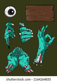 Halloween zombie hands template set