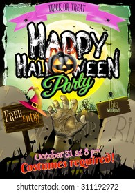 Halloween Zombie Party Poster. EPS 10 vector file included