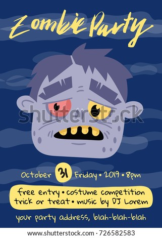 Halloween Zombie Party Poster With Monster Head Holiday Banner Funny Undead Man Festive