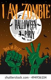 Halloween Zombie Poster Vector