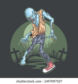 halloween zombie rise from graveyard illustration vector