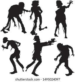 Halloween zombie silhouette wall decoration and graphic elements. Editable and ready to use.