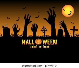 halloween zombies hand in a graveyard