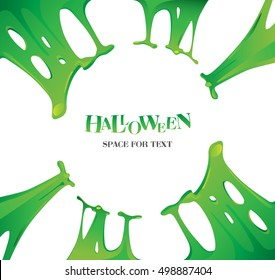 Halloween.Poster for Halloween.Green slime background.Realistic texture of green slime.Glue.Jelly. Scary poster. The sticky substance.Vector.