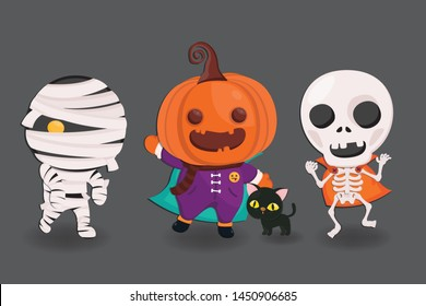 Halloween's cute character in monster costume. Ghost character design.