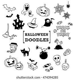 Halloween's Doodles.Hand drawing Halloween objects.