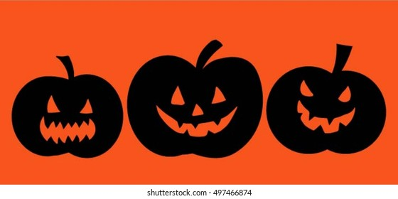 Halloween,set of pumpkins on orange background