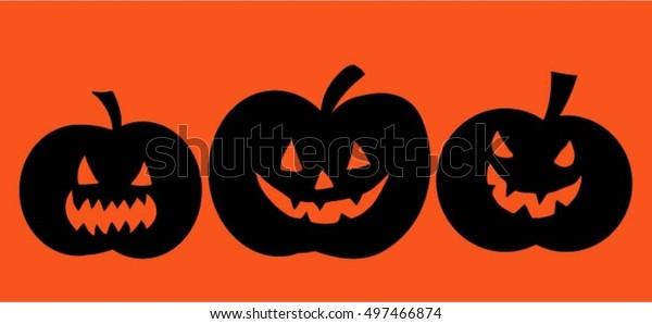 Halloween,set of pumpkins on orange background