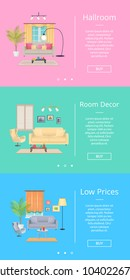 Hallroom and room decor, low prices, set of internet pages of shop with information and buttons, images of chambers with furniture on vector illustration