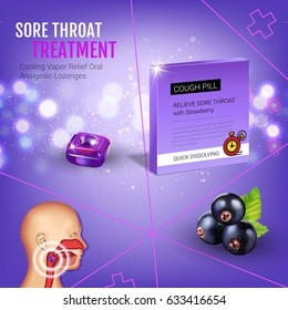 Halls Cough Drops ads. Vector 3d Illustration with blackcurrant pills for throat. Poster with product's package.