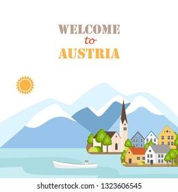 Hallstatt Lake in Salzkammergut Upper Austria. Historic sight attraction, travel sightseeing collection. Vector flat illustration