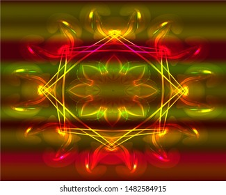 Hallucination. Optical psychedelic drug trippy effects. Crazy magic patterns of sacred geometry shapes. Vector gradient vibrant red, yellow and violet illustration. Colorful 60s hippie art.