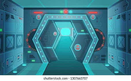 Hallway with a door in a spaceship.Vector cartoon background interior room sci-fi spaceship. Background for games and mobile applications.