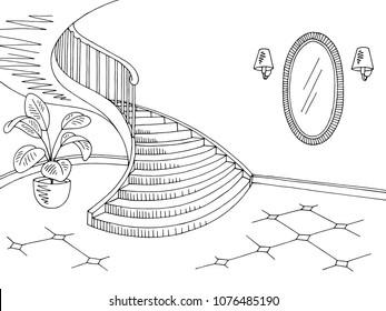 Hallway graphic black white home interior sketch illustration vector