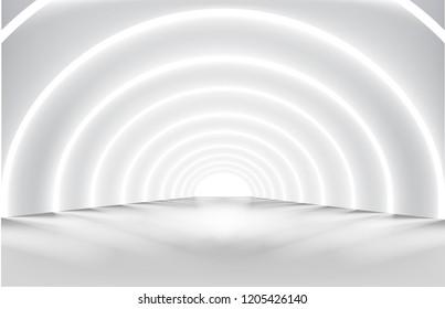 Hallway with lights. Illuminated corridor. Modern interior design. Vector illustration.