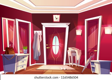Hallway room or corridor interior vector illustration of retro or modern apartment with entrance door view. Cartoon flat background with furniture drawer or table, coat hanger and clock on wall