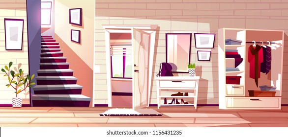 Hallway room interior vector illustration of retro apartment corridor or store entrance with furniture. Cartoon flat wardrobe background with store compartments and shelf for clothes, bag and umbrella