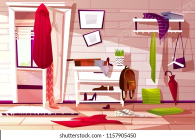 Hallway room messy interior vector illustration of retro apartment corridor or store entrance clutter. Cartoon wardrobe with store compartments and clothing scattered on floor and dusty web on shelf