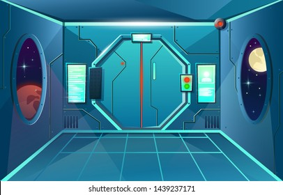 Hallway in spaceship with porthole and camera . Futuristic interior room with door. Background for games and mobile applications. Vector cartoon background