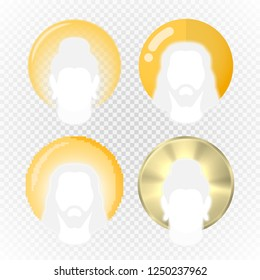 Halo or aura in various modern illustration styles, eastern tradition nimbus vector, aureole or gloriole a religious symbol of sanity and sacredness with Jesus and Buddha silhouettes