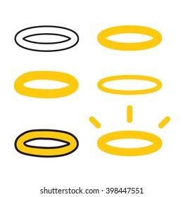 Halo, nimbus set. Vector flat icon design on white background. Element for logo. Religion theme.