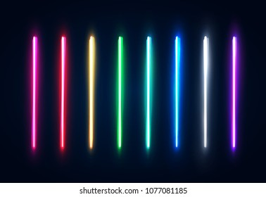 Halogen or led light lamps elements pack for night party or game design. Neon light tubes set. Colorful glowing lines or borders collection isolated on dark blue background. Color vector illustration.