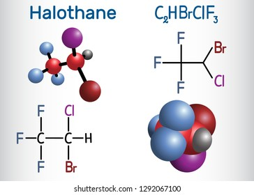 Halothane general anesthetic drug molecule. Structural chemical formula and molecule model. Vector illustration