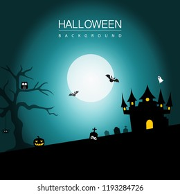 Haloween background banner. Haloween party sign vector cover illustration. helloween icon collection. Flat design cartoon concept