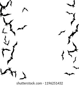 Haloween background with black bats on white. Haloween party card background template. black flying bats.