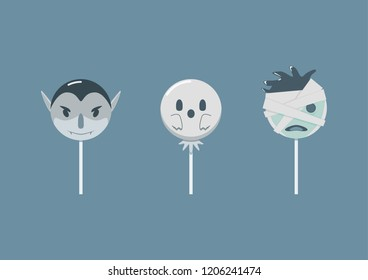 Haloween themed candy, dracula, ghost, mummy. Cute illustration best use for advertising, design asset, or desktop walpaper,