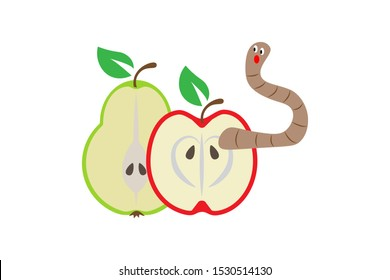 Halves of apple and pear with cartoon surprised worm. Autumn healthy natural harvest, vitamins