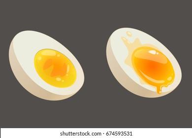 Halves of soft Boiled And Hard Boiled Egg