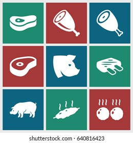Ham icons set. set of 9 ham filled icons such as beef, pig