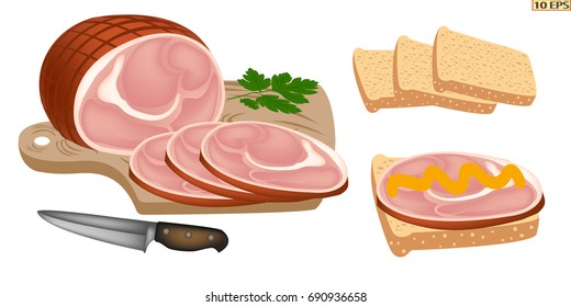 Ham vector. Smoked meat cut into appetizing slices. The ham sandwich. Slices of smoked pork, bread, onion and mustard. Delicious brisket and sliced bread. Vector illustration