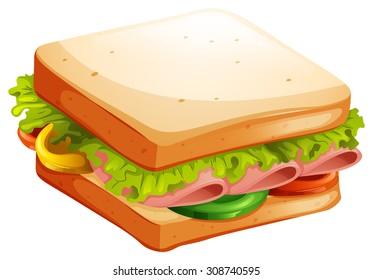 Ham and vegetable sandwich illustration