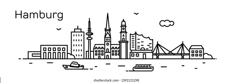 Hamburg city. Modern flat line style. Vector illustration. Concept for presentation, banner, cards, web page