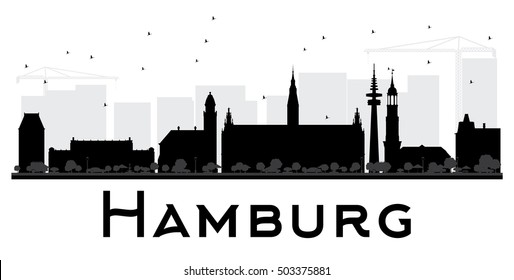 Hamburg City skyline black and white silhouette. Vector illustration. Simple flat concept for tourism presentation, banner, placard or web site. Business travel concept. Cityscape with landmarks